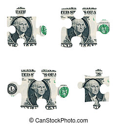 Dollar puzzle pieces