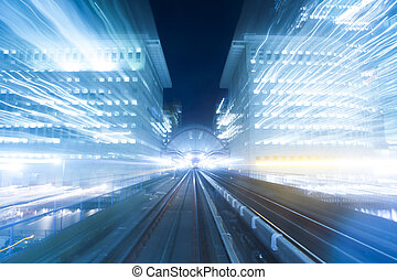 Fast moving toward the light. - Speed motion at night in...