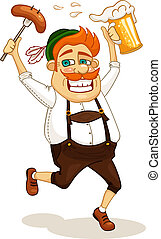 beer party man - Beer party man with sausage and beer vector...