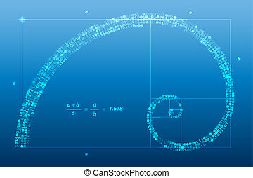golden ratio - Digital golden ratio, spiral symbol vector...