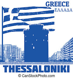 Thessaloniki, Greece poster - Grunge poster with name of...