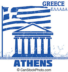 Athens, Greece poster - Grunge poster with name of Athens,...