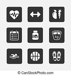 fitness icons - Set of flat fitness icons vector...