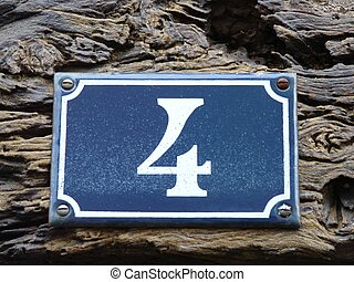House Number In France - Traditional blue house number on a...