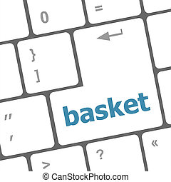 basket word on keyboard key, notebook computer