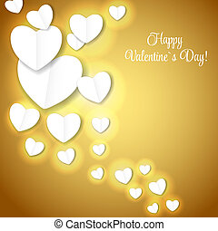 Valentine`s day paper heart backgroung, vector illustration