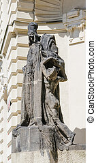 statue of Rabbi Loew on Marian Square in Prague - Old Town...