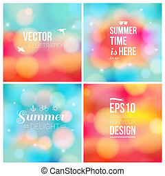 Set of soft blurry backgrounds with bokeh effect Vector...