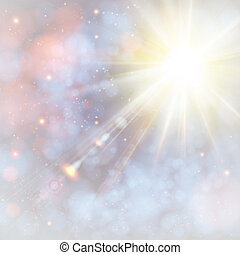 Winter shining sun with lens flare. Soft background with...