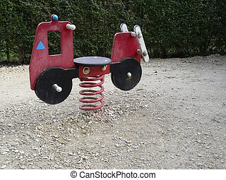 Playground Seesaw - A colourful seesaw in a children\'s...