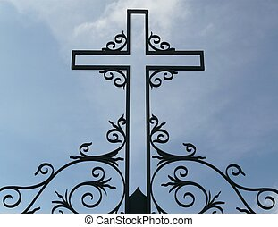 Silhouette Of A Metal Cross - Silhouette of a metal cross...