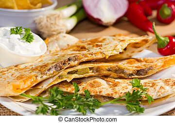 Southwest beef quesadila - Southwest beef quesadila served...