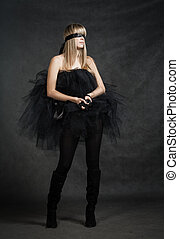 Blindfolded girl waiting She weared black tutu skirt -...