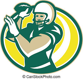American Football QB Passing Ball retro - Illustration of an...