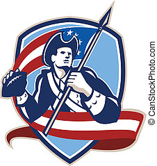 American Patriot Football Quarterback Shield - Illustration...