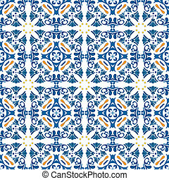 Portuguese tiles - Seamless pattern in blue and orange -...