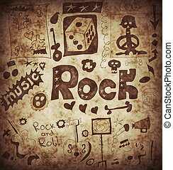 Doodle rock music background
