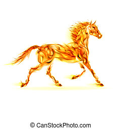 Fire horse - Fire horse in motion on white background