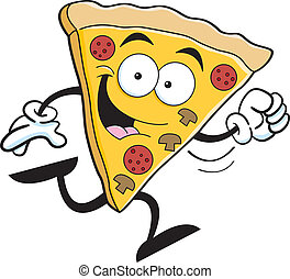 Cartoon pizza running - Cartoon illustration of a slice of...