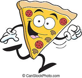 Cartoon pizza running - Cartoon illustration of a slice of...