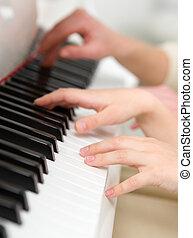 cierre, Arriba, tiro, Manos, juego, piano