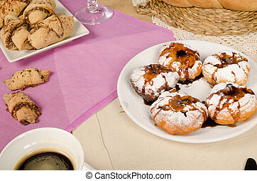Sufganiyot - Portion of delicious stuffed sufganihot, a...