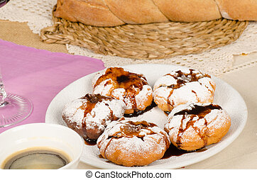 Hanukkah treat - Delicious swee stuffed sufganiyot, a...