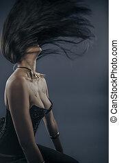 cheveux, vent, mode, pousse, jeune, bizarre, femme,...