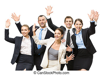 Group of happy business people with hands up, isolated on...