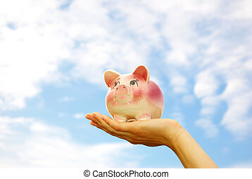 piggy bank -   woman hands holding piggy bank