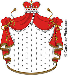 Heraldic royal mantle with golden crown for design
