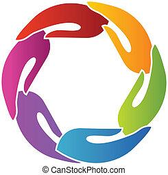 mãos, junto, logotipo
