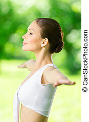 Profile of woman with outstretched arms Concept of healthy...