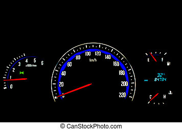 Odometer - Needle in multiple colors on a black background