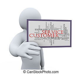 3d man showing customer service - 3d illustration of person...