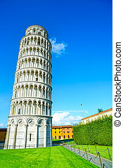 Leaning Tower of Pisa or Torre pendente di Pisa, Miracle Square or Piazza dei Miracoli. Tuscany, Italy