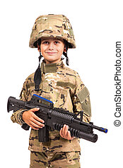 Young soldier with rifle