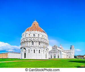 Pisa, Miracle Square. Bapstistry, cathedral Duomo and Leaning Tower of Pisa. Tuscany, Italy