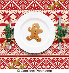 Table setting for Christmas dinner, vector Eps10...
