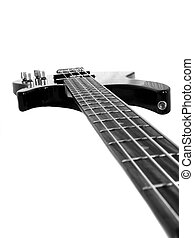 Bass - Black 4-string bass guitar isolated on white