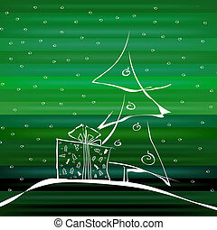 Abstract Christmas Tree on Green Background - Abstract...
