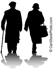 Elderly couples - Vector drawing of two elderly people with...