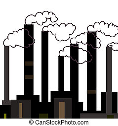 Vector illustration of industrial factories, grayscale.