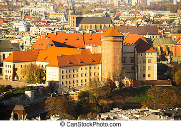 Poland, aerial view of Royal Wawel castle in Krakow.