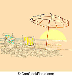 Pair of beach loungers on the deserted coast sea at sunrise. Vector sketch.