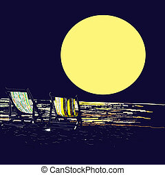 Pair of beach loungers on the deserted coast sea at sunset. Vector llustration.