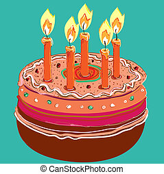 Cake with candles. Vector illustration on a green background.