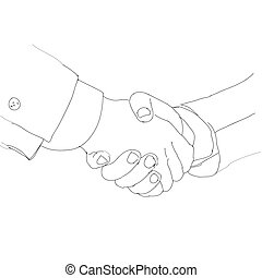Partnership. Handshake business people. Ink sketch, vector illustration.