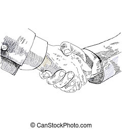 Handshake business people, partnership. pencil sketch, vector illustration.