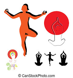 Yoga silhouette vector set, icon, a symbol of a healthy lifestyle.
